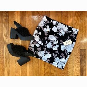 NWT cream and black floral body con skirt